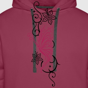 Tribal mit Schmetterling, floral Tops - Men's Premium Hoodie