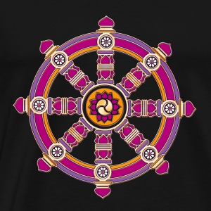 Dharmachakra, Darma Wheel of Law, Buddhist Symbol Topper - Premium T-skjorte for menn