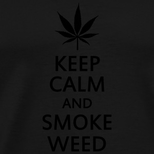 keep calm and smoke weed Toppar - Premium-T-shirt herr