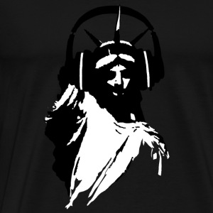 DJ Statue of Liberty Headphone Close T-Shirts - Men's Premium T-Shirt