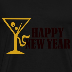 Zwart Happy New Year Tops - Mannen Premium T-shirt