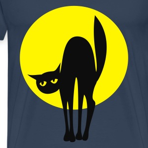 Black cat, silvermoon - Mannen Premium T-shirt