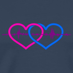 Petrol twee harten een beat / two hearts one beat (2c) Tops - Mannen Premium T-shirt