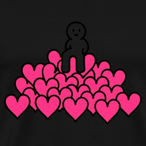 Zwart heap of love (2c) T-shirts - Mannen Premium T-shirt