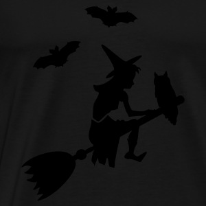 Negro montar una escoba de bruja / witch on her broomstick (1c) Tops - Camiseta premium hombre