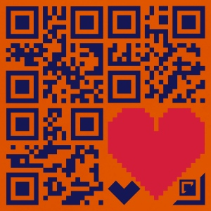 Orange Herzen / hearts (QR-code, 2c) Kinder T-Shirts - Baby T-Shirt