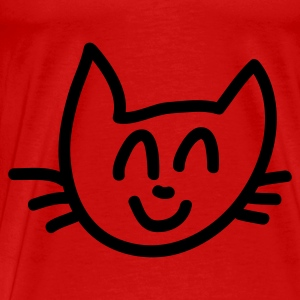 Rot Cat Smile - Line Tops - Männer Premium T-Shirt