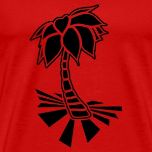 Red Palm tree on the beach Tops - Men's Premium T-Shirt