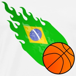 Wit Vuurbal Basketbal Brazilië  T-shirts - Mannen Premium T-shirt