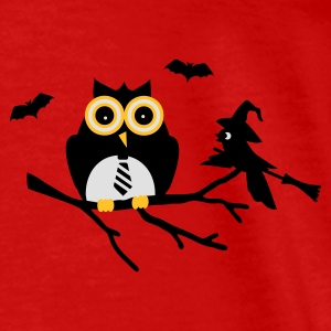 Red owl and bird sitting on a branch Tops - Men's Premium T-Shirt