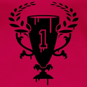 A Winner Cup with laurel wreath and Number 1 Tops - Women's Premium T-Shirt