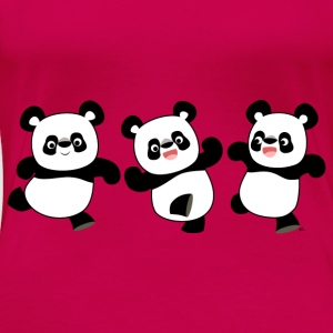 Three Cute Cartoon Pandas by Cheerful Madness!! Tops - Women's Premium T-Shirt