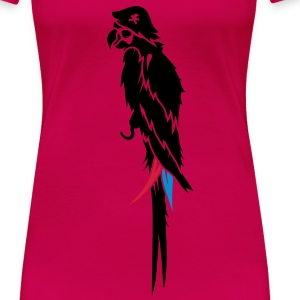 Parrot pirate with eye patch, pirate hat and hook  Tops - Women's Premium T-Shirt