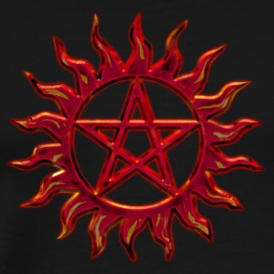 Pentagram - Blazing Star- Sign of intellectual omnipotence and autocracy. digital red, Star of the Magi , powerful symbol of protection Topper - Premium T-skjorte for menn