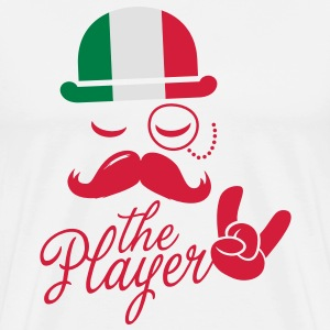 Italy retro gentleman sports player rock | olympics | football | Championship | Moustache | Flag European T-Shirts - Men's Premium T-Shirt