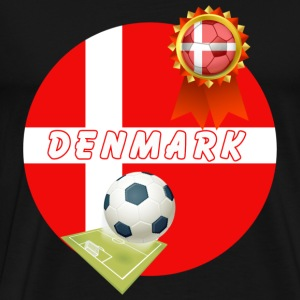 Denmark Football Team Supporter Rosette Ball & Pitch  - Men's Premium T-Shirt