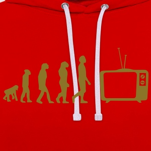 Evolution TV, TV, sofa, couch, flat screen TV, tube T-Shirts - Contrast Colour Hoodie