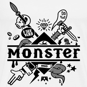 Wit monster Tops - Mannen Premium T-shirt