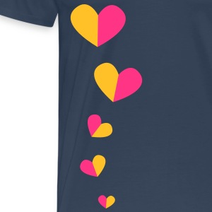 5 half hearts in a line down funky! Tops - Men's Premium T-Shirt