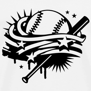 Baseball and a baseball bat with stripes and stars T-Shirts - Men's Premium T-Shirt