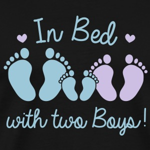 in bed with two boys T-Shirts - Men's Premium T-Shirt