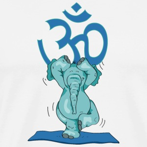 The elephant practice the tree and sings OM T-Shirts - Men's Premium T-Shirt