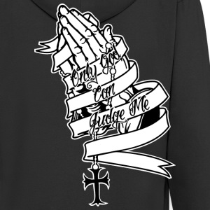 Only God Can Judge Me Praying Hands T-Shirts - Men's Premium Hooded Jacket