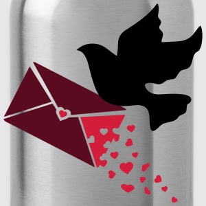 A carrier pigeon with a love letter Tops - Water Bottle