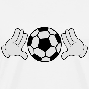 Comic Hands with Football T-shirts - Mannen Premium T-shirt