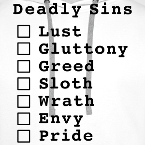 Seven Deadly Sins Checklist T-Shirts - Men's Premium Hoodie