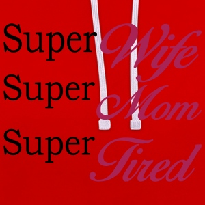 Rood Super Mom Super Wife Super Tired T-shirts - Contrast hoodie