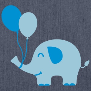 Sweet Funny Baby Elephant with Balloons Langarmshirts - Schultertasche aus Recycling-Material