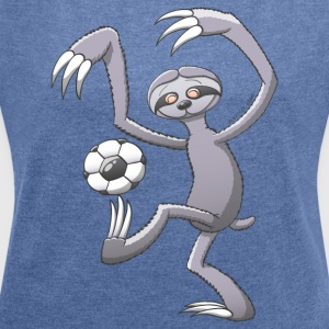 Sloth Playing Football Hoodies & Sweatshirts - Women's T-shirt with rolled up sleeves