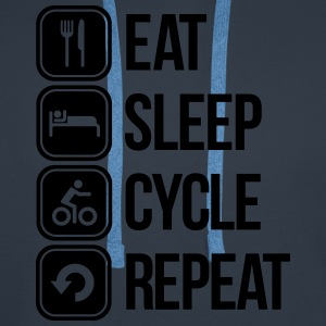 eat sleep cycle repeat T-shirts - Mannen Premium hoodie