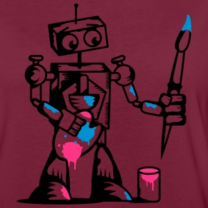 A robot with a paintbrush  Aprons - Women's Oversize T-Shirt