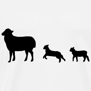 Mother sheep with two lambs. sheep, lamb - Men's Premium T-Shirt