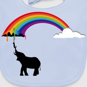 Elephant and Rainbow  Shirts - Baby Organic Bib