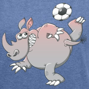 Rhinoceros Playing Football Hoodies & Sweatshirts - Women's T-shirt with rolled up sleeves