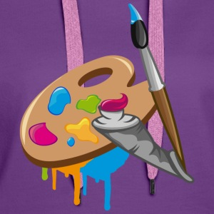 a Paint brush, colors and a painter's palette T-Shirts - Women's Premium Hoodie