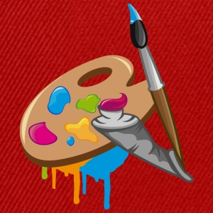 a Paint brush, colors and a painter's palette Hoodies & Sweatshirts - Snapback Cap