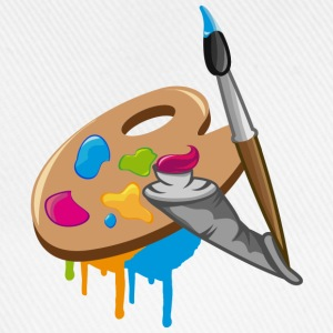 a Paint brush, colors and a painter's palette Hoodies - Baseball Cap