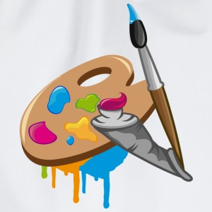 a Paint brush, colors and a painter's palette Long sleeve shirts - Drawstring Bag
