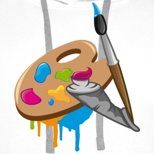 a Paint brush, colors and a painter's palette Long sleeve shirts - Men's Premium Hoodie