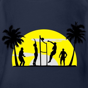 beach volleyball, volleyball  T-Shirts - Body ecologico per neonato a manica corta