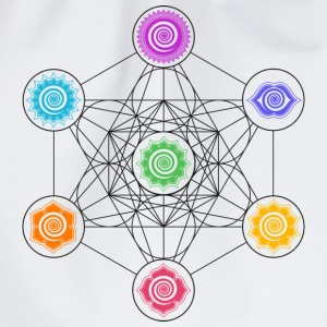 Metatrons Cube, Chakras, Cosmic Energy Centers,  T-Shirts - Drawstring Bag
