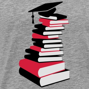 A stack of books with a mortarboard  Tank Tops - Men's Premium T-Shirt
