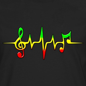 Reggae, music, notes, pulse, frequency, Rastafari T-shirts - Herre premium T-shirt med lange ærmer