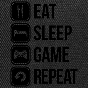 eat sleep game repeat Tee shirts - Casquette snapback