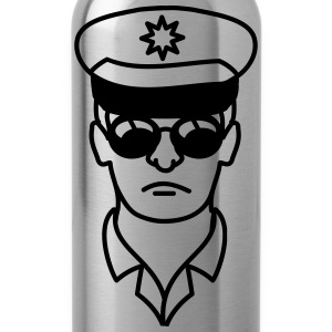 Cool police man face head T-Shirts - Water Bottle