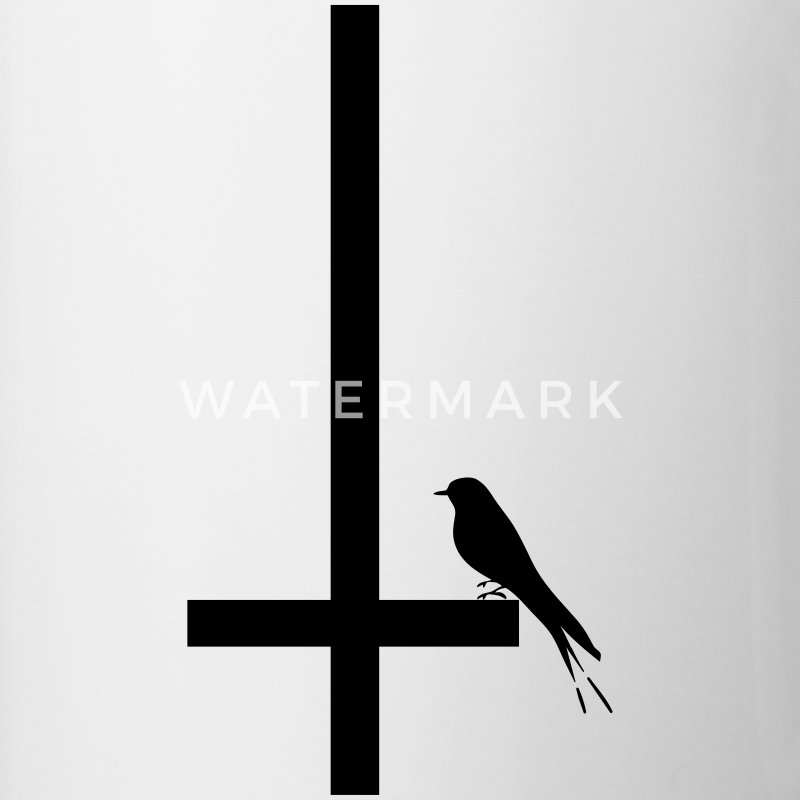 swallow on inverted cross - Contrasting Mug
